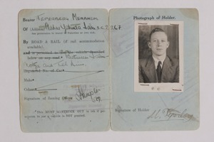 Menachem Teperberg's transit permit from the time of the British Mandate
